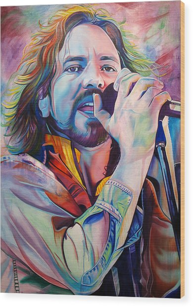 Eddie Vedder In Pink And Blue Wood Print