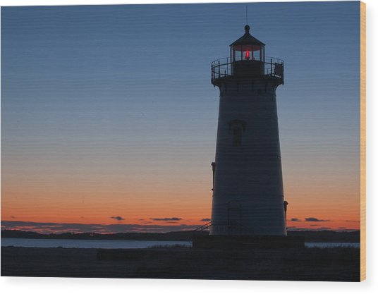 Edgartown Light At Sunrise Wood Print