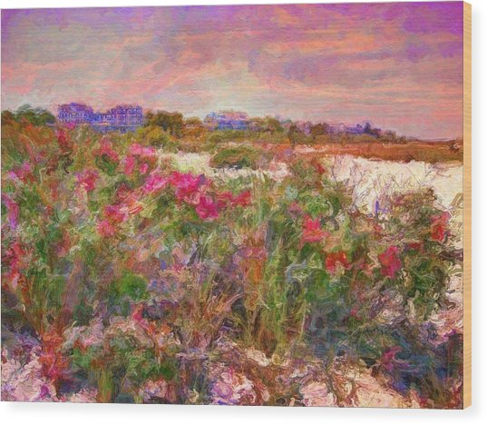 Edgartown Shoreline Roses - Horizontal  Wood Print