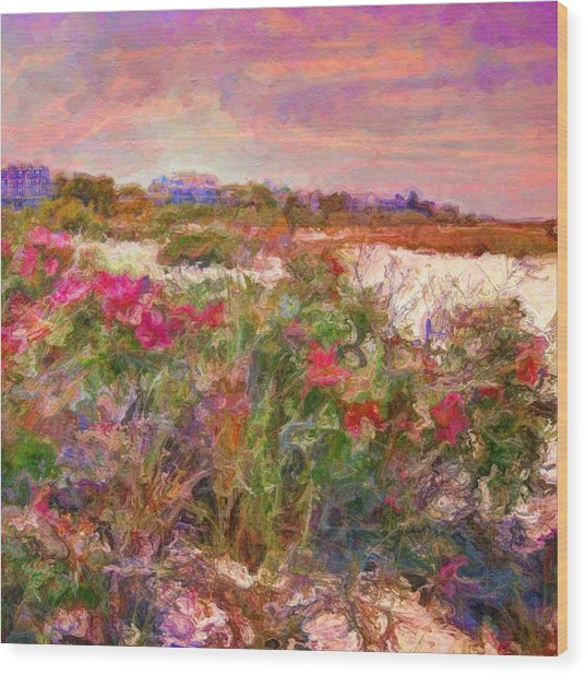 Edgartown Shoreline Roses - Square Wood Print
