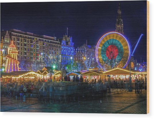 Edinburgh Christmas Market Wood Print