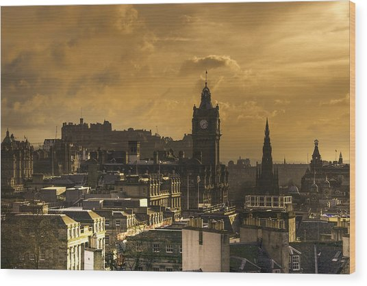 Edinburgh Dusk Wood Print