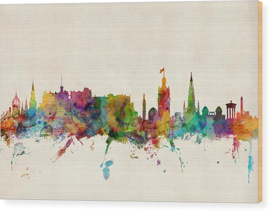 Edinburgh Scotland Skyline Wood Print