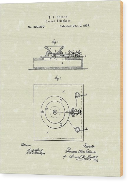 Edison Telephone 1879 Patent Art Wood Print