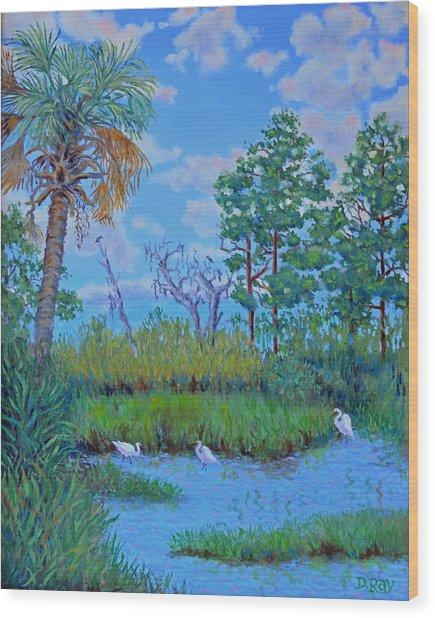 Edisto Egret Hideaway Wood Print