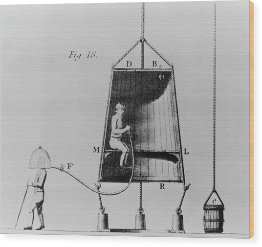 Edmond Halley's Diving Bell Of 1716 Wood Print by Science Photo Library