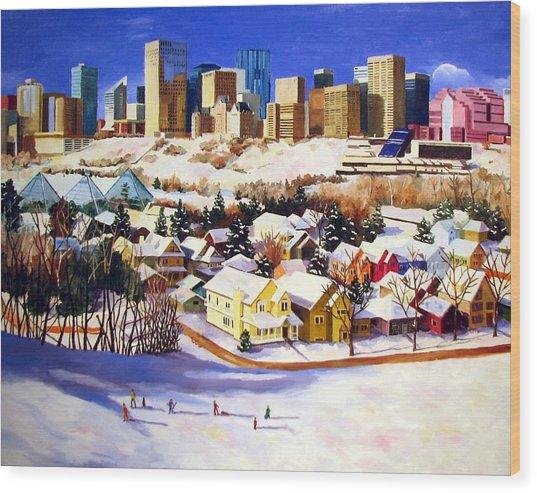 Edmonton In Winter Wood Print by Nel Kwiatkowska