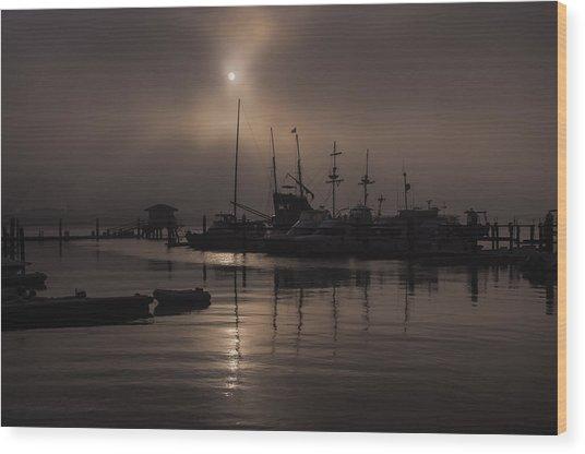 Eerie Morning Fog St. Augustine Marina Wood Print