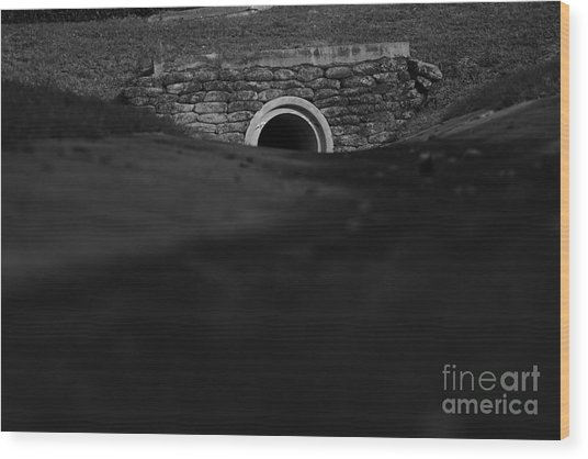 Eerie Tunnel Wood Print