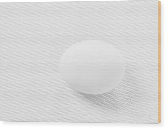 Egg On White Tablecloth Wood Print