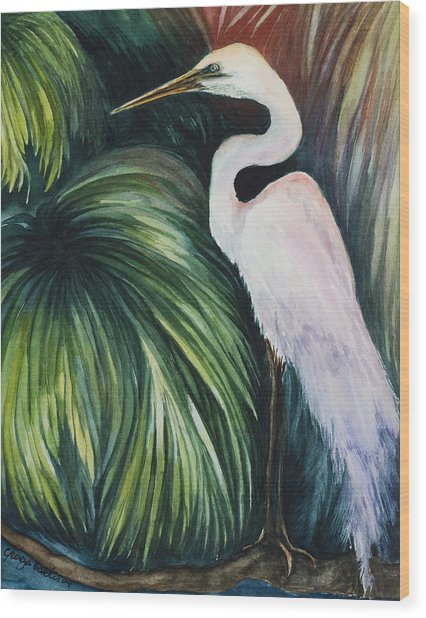 Egret In Palms Wood Print by Georgia Pistolis