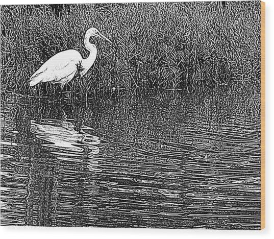 Egret In The Thicket Wood Print