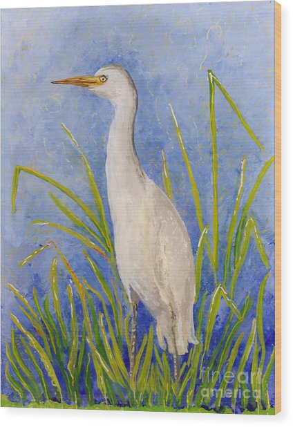 Egret Morning Wood Print
