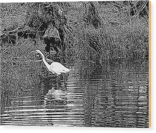 Egret On The Move Wood Print