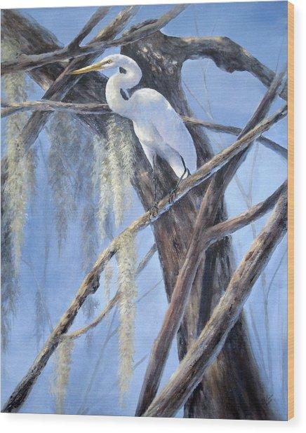 Egret Perch Wood Print