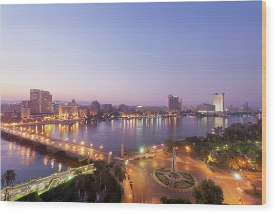 Egypt, Cairo, View Of Bridge With River Wood Print by Westend61