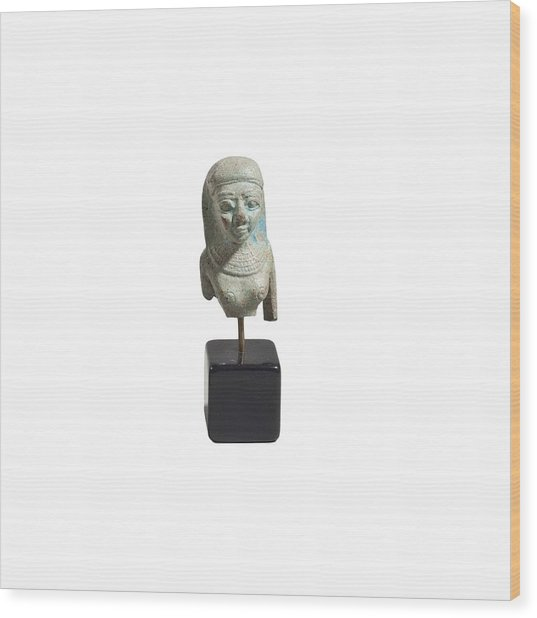 Egyptian Faience Bust Of A Lady Wood Print by Science Photo Library