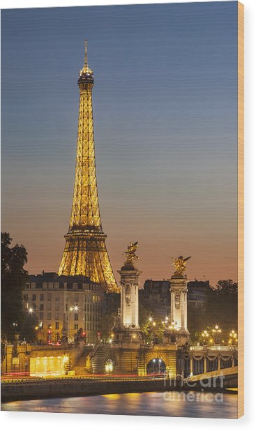 Wood Print featuring the photograph Eiffel At Twilight by Brian Jannsen