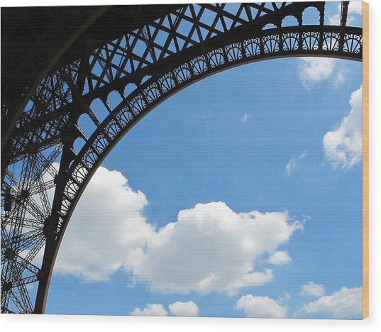 Eiffel Clouds Wood Print