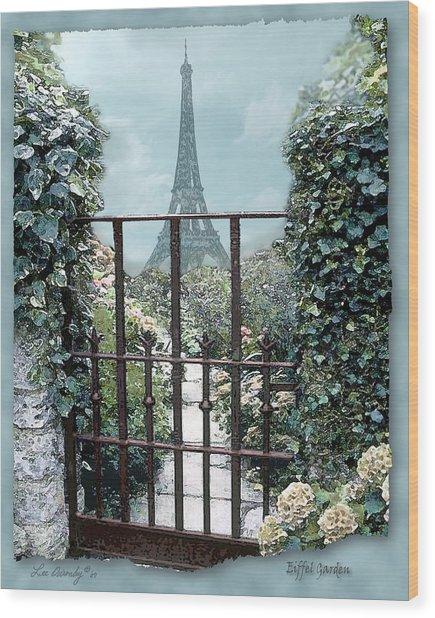Eiffel Garden In Blue Wood Print