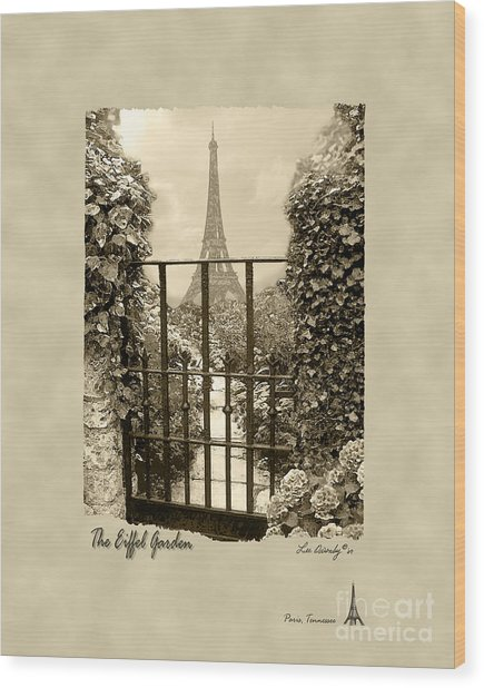 Eiffel Garden Sepia Wood Print