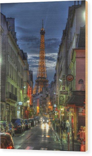 Eiffel Over Paris Wood Print