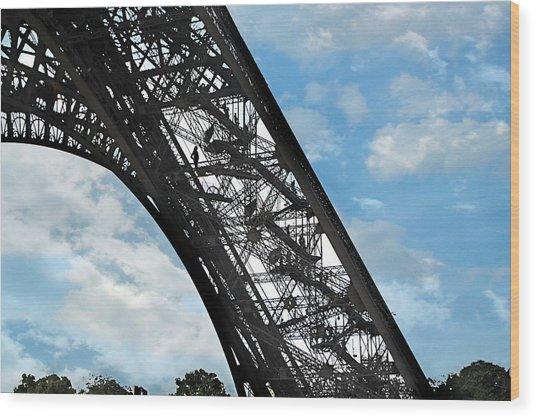Eiffel Stairs Wood Print