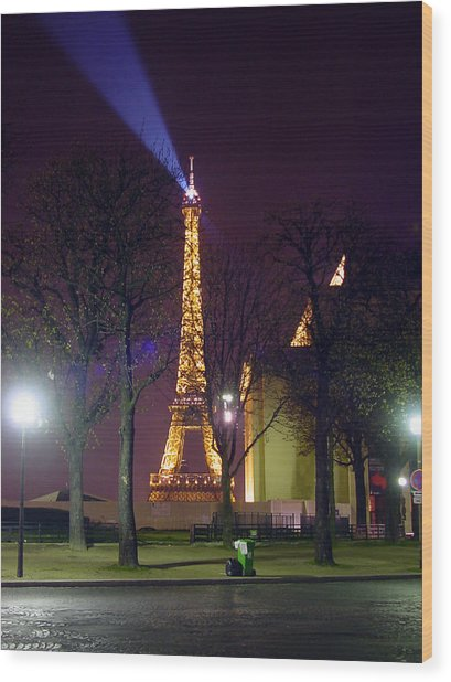 Eiffel Tower As A Lighthouse Wood Print