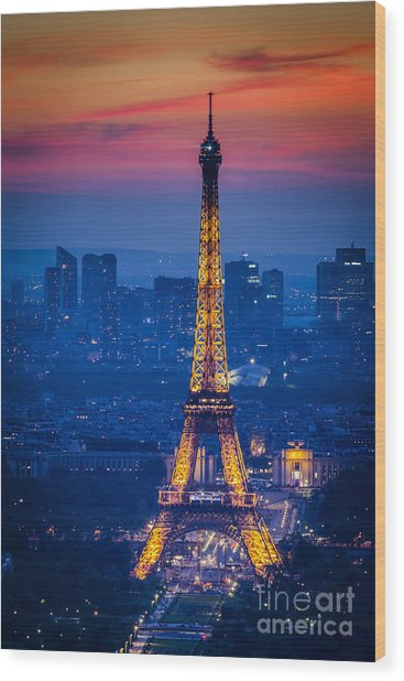 Wood Print featuring the photograph Eiffel Tower At Twilight by Brian Jannsen