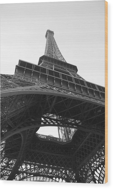 Wood Print featuring the photograph Eiffel Tower B/w by Jennifer Ancker