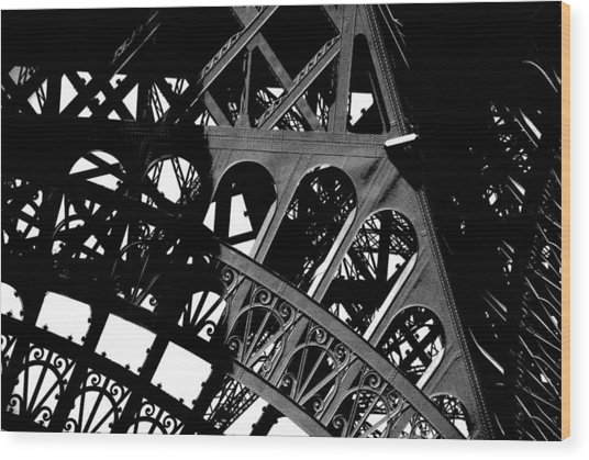 Eiffel Tower Bw Wood Print by Jacqueline M Lewis