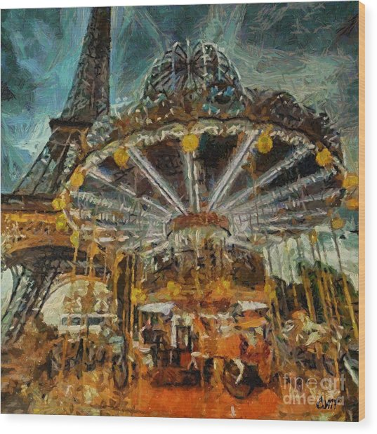 Eiffel Tower Carousel Wood Print
