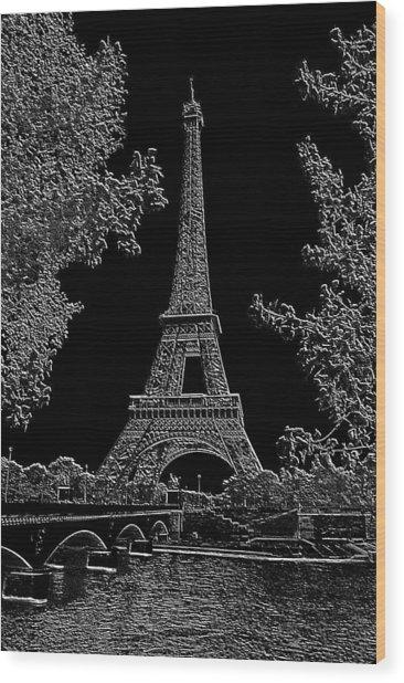 Eiffel Tower Charcoal Negative Image Dark Wood Print by L Brown