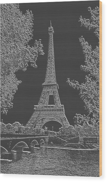 Eiffel Tower Charcoal Negative Image Wood Print by L Brown