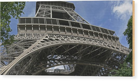 Eiffel Tower First Balcony Wood Print by Gary Lobdell