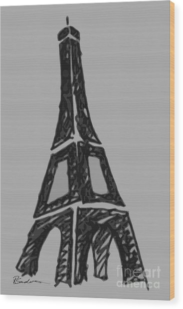 Eiffel Tower Graphic Wood Print