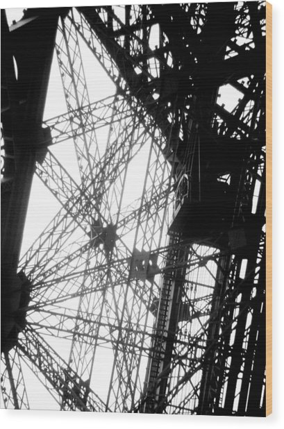 Eiffel Tower Lift Wood Print by Rita Haeussler
