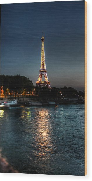 Eiffel Tower Night Time Wood Print by Steve Ellenburg