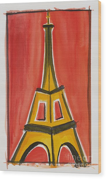 Eiffel Tower Orange And Yellow Wood Print