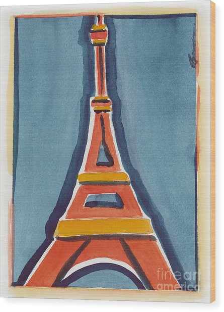 Eiffel Tower Orange Blue Wood Print