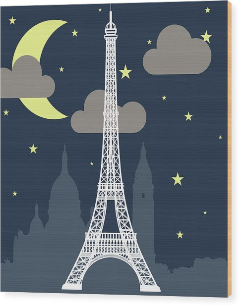 Eiffel Tower Over Night With Stars And Wood Print by Atypeek