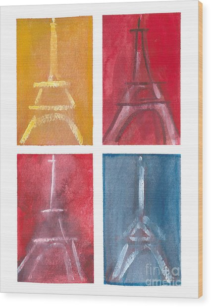 Eiffel Tower Paintings Of 4 Up Wood Print