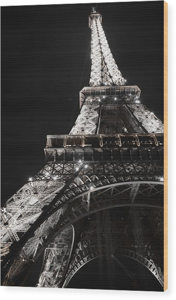 Eiffel Tower Paris France Night Lights Wood Print