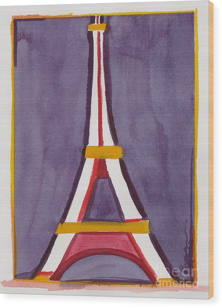 Eiffel Tower Purple Red Wood Print