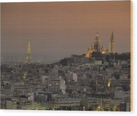 Eiffel Tower Sacred Heart Paris France Wood Print