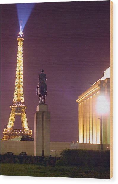 Eiffel Tower With A Monument Wood Print