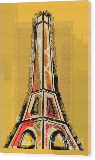 Eiffel Tower Yellow And Red Wood Print
