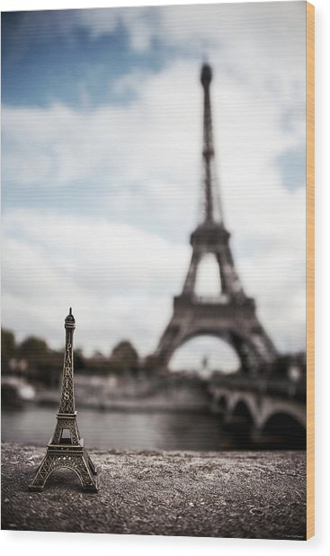 Wood Print featuring the photograph Eiffel Trinket by Ryan Wyckoff