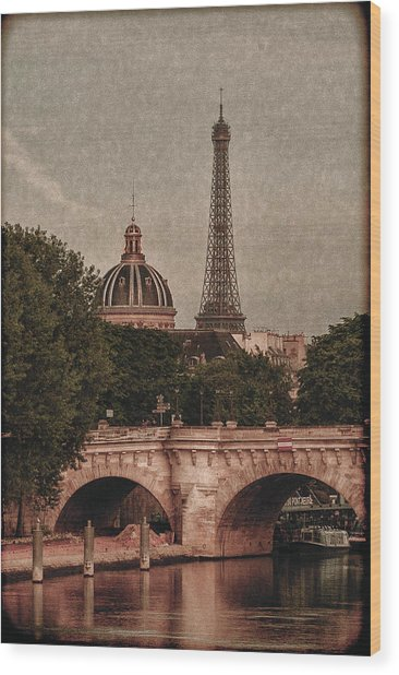 Eiffeltower With Pont Neuf Wood Print