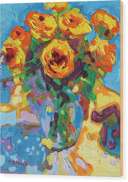 Eight Yellow Roses Oil Painting Bertram Poole Apr14 Wood Print